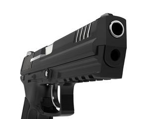 Modern black semi automatic side arm - pistol - closeup shot