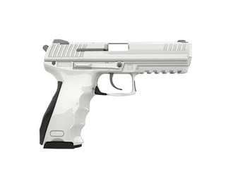 White modern semi automatic gun - side view
