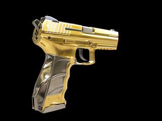 Golden semi automatic modern handgun