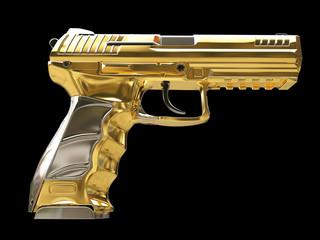 Golden semi automatic modern handgun - side view