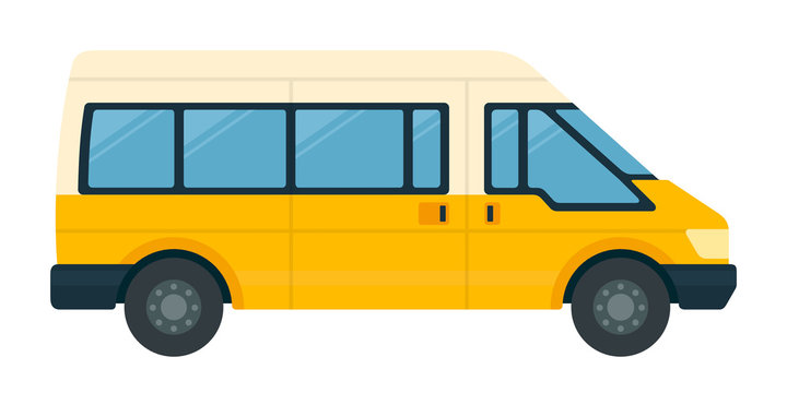 Minibus for passengers with luggage vector icon flat isolated