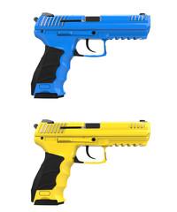 Blue and yellow modern semi automatic handguns