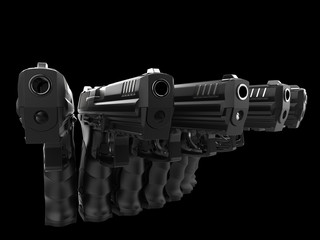 Semi automatic pistols pointing at all directions