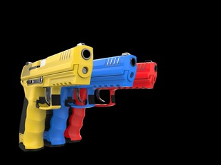 Modern red, blue and yellow semi automatic pistols - pointing forward