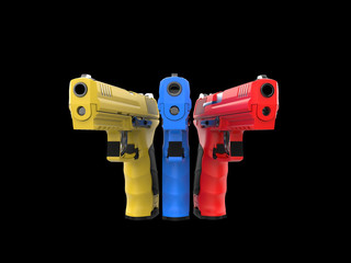 Modern red, blue and yellow semi automatic pistols