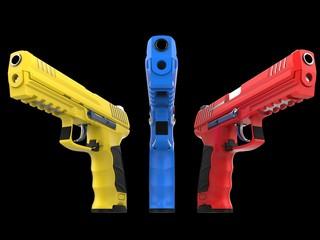 Three modern semi automatic guns - red, blue and yellow