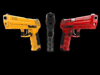 Black, red and yellow modern handguns