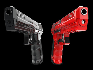 Black and red shiny new semi automatic pistols
