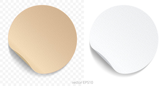 Vector set of round adhesive stickers with a folded edges. Brown cardboard and white paper circles. Blank templates of a price tags. Empty mock up for any memos.