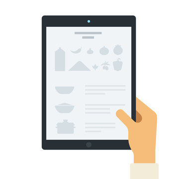 Recipe on the tablet screen flat icon vector isolated