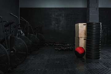 Empty gym with crossfit equipment.