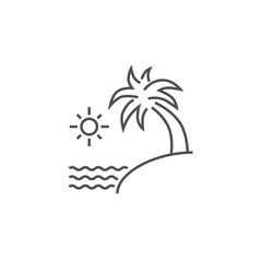 Sea and Palm Vector Line Icon.