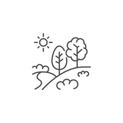 Landscape Related Vector Line Icon.