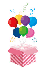 cake packing box with confetti and balloon helium