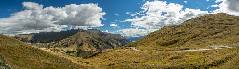 Wall Mural - Crown Range Road close to Queenstown in New Zealand