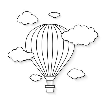 Hot air balloon with clouds for coloring book . Vector illustration