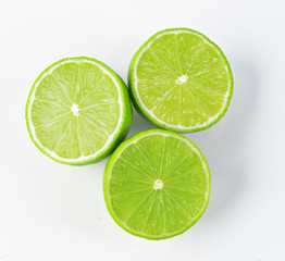 a slice of lime, isolated on white background