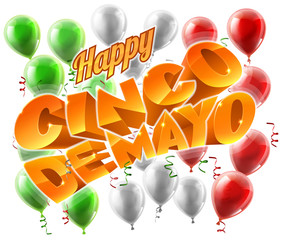 A Cinco de Mayo Mexican holiday themed background with balloons