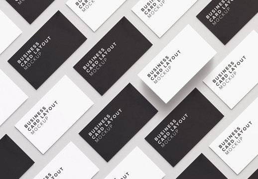 Business Cards in a Diagonal Mockup