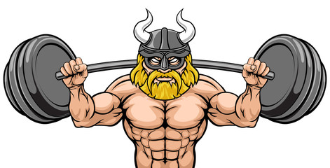 A Viking gladiator warrior weight lifting or body building sports mascot