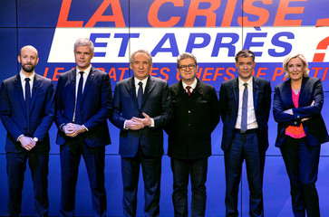 French political party chiefs pose for a picture ahead of a debate organised by French BFM TV in Paris