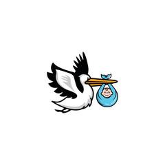 stork logo baby illustration graphic download