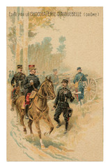French historical advertising chromolithographic postcard: General on horseback listening to the report of the messenger officer near the artillery battery, world war one 1914-1918. France