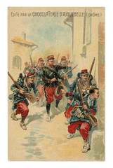 French historical advertising chromolithographic postcard: officer leads a soldier infantry with rifles through the streets of the enemy city, street battle, world war one 1914-1918. France