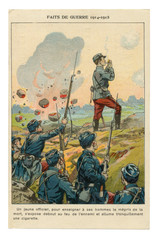 French historical advertising chromolithographic postcard: An officer despite the shelling by the enemy lights a cigarette, standing full-length on the parapet, world war one 1914-1918. France