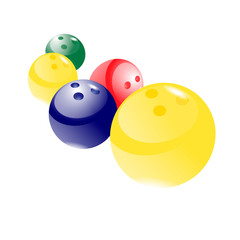 colorful balls  for bowling on white background