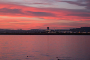sunrise sky over Portland International Airport and Columbia River