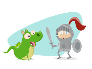 funny knight with dragon looking like a dog