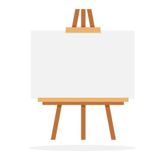 Wooden easel with whiteboard vector flat isolated