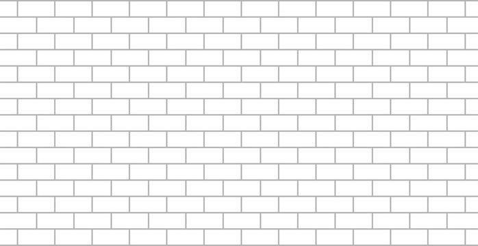 White brick wall flat isolated