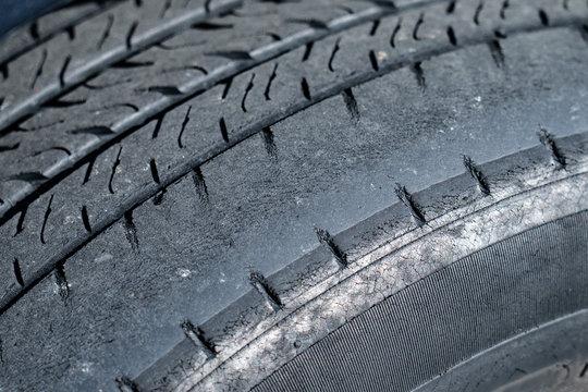 Dangerously worn tire tread
