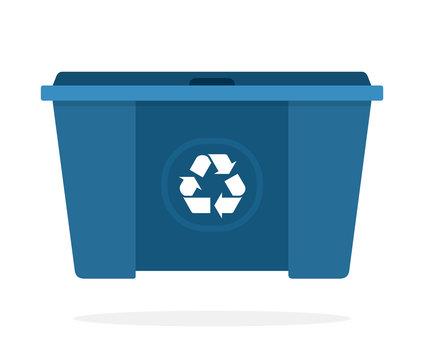 Huge blue waste trash can flat isolated