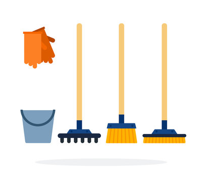 Bucket, gloves, rakes and brushes for cleaning flat isolated