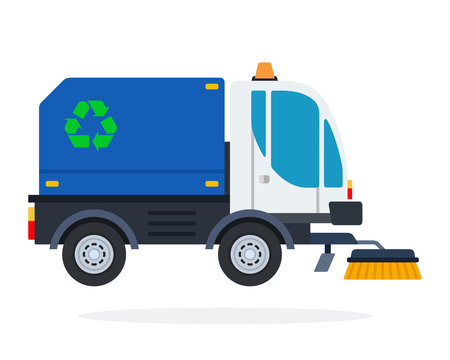 Street sweeper vector flat isolated