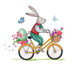 Easter Bunny on a Bicycle. Wonderland. Cartoon illustration. Isolated image on white background.Vector.