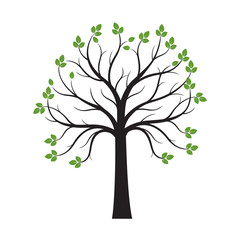 Black Tree with Green Leaves on white background. Vector Illustration.