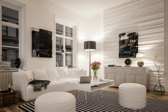 3D rendering von gemütlichem Wohnzimmer mit Sofa in Altbau einer Stadtwohnung oder  Wohnung zum mieten oder kaufen bei Nacht