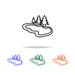 lake with trees icon. Elements of simple web icon in multi color. Premium quality graphic design icon. Simple icon for websites, web design, mobile app, info graphics