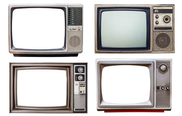 Poster Retro old retro color bronze and wooden home TV receiver isolated on white background,mix vintage television