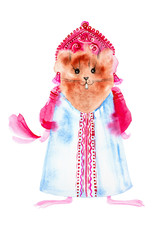 Keuken foto achterwand Hoogte schaal A Guinea pig dressed in a Russian folk dress. Comic watercolor illustration isolated on white background