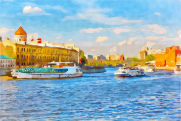 Watercolor cityscape. Tourist ships floating on the Moscow river.