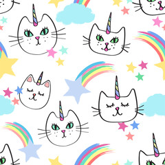 Seamless repeat patterns with happy girly caticorns cat unicorns, colorful rainbows and shooting stars