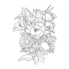 vector drawing background with flowers