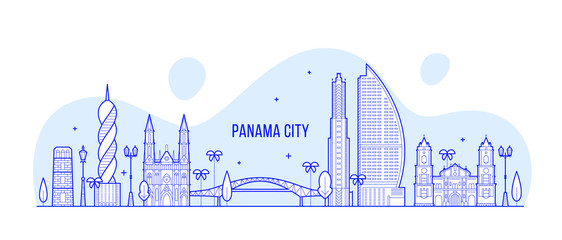 Wall Mural - Panama City skyline Republic Panama city vector
