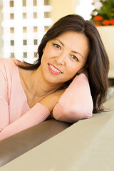 Portrait of a beautiful Asian woman smiling.