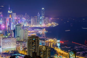 A view of Hong Kong City skyline, captured around sunset from the summit of Braemar Hill.
